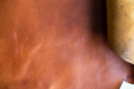 Brown vegetable tanned genuine leather background texture