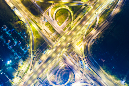 Intersection transport road with vehicle light movement aerial view Stock Photo