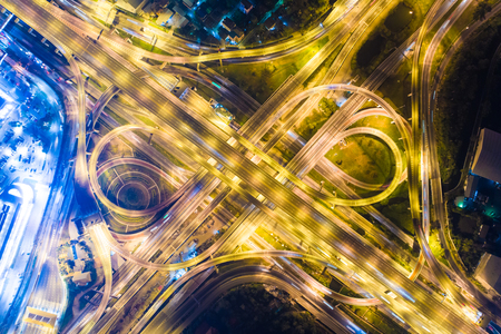 Intersection transport road with vehicle light movement aerial view Stock Photo - 116301138