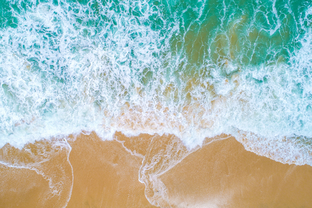 Sea wave on sand beach turquoise water nature landscape aerial view