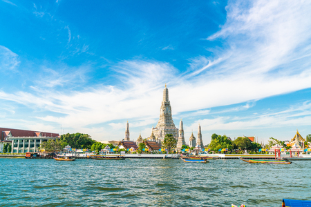 Temple of dawn Wat Arun with Chao Praya river sightseeing landmark of Bangkok, Thailand