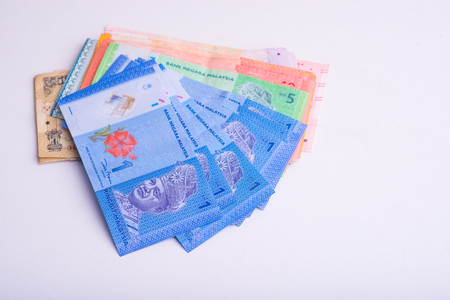 Ringgit Malaysia money note on white background, RM money