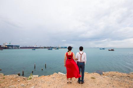 Love couple summer time on sea beach happy pre wedding