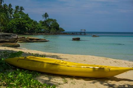 Kayak boat on tropical sea beach with tree