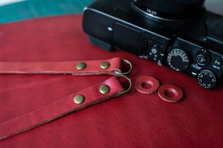 Laether camera strap craftsmanship object, Handmade work
