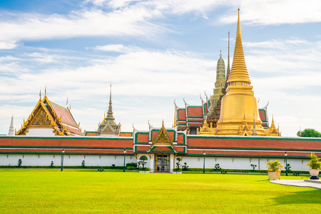 Temple of emerald buddha with golden pagoda Wat Phra Keaw in Bangkok Thailand Stock Photo