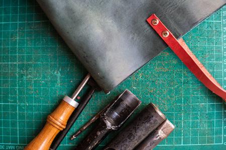 Genuine leather tote women handmade bag with DIY tool Stock Photo