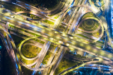 Aerial view city night transport road car light movement Stock Photo
