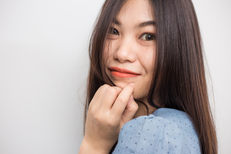 Portrait of beautiful asian long hair woman posting on white background