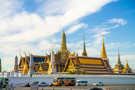 Emerald buddhist temple with golden pagoda Wat Phra Kaew, Thailand