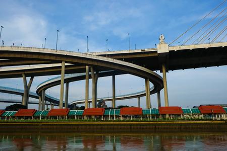 Modern Bhumibol bridge curve road with blue sky in Bangkok Thailand Zdjęcie Seryjne