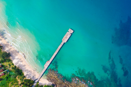 Aerial view sea island with green tree turquoise water nature landscape Stok Fotoğraf - 123152721