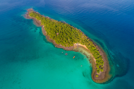 Aerial view sea island with green tree turquoise water nature landscape