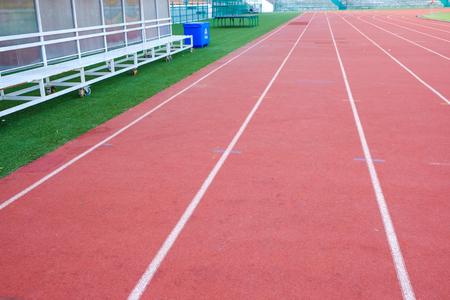 Textura de pista de atletismo de fondo deportivo de cerca Foto de archivo