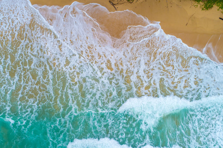 Sea wave on sand beach turquoise water nature lndscape aerial view