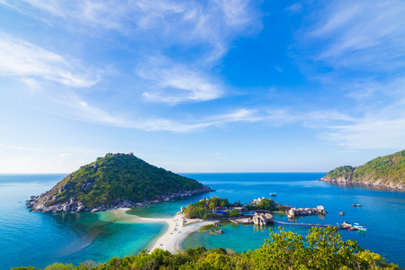 Seascape morning sunny day blue sky with idyllic island, Koh nangyuan Suratthani