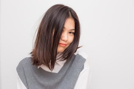 Smiling beautiful asian white collar women on white background