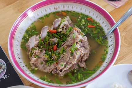 Pork soup with spicy in bowl asian food Stock Photo