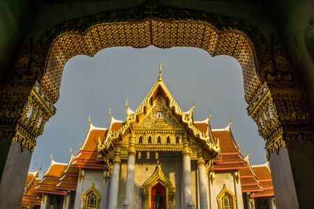Bangkok golden pagoda temple of Wat Benchamabophit sightseeing in Thailand travel