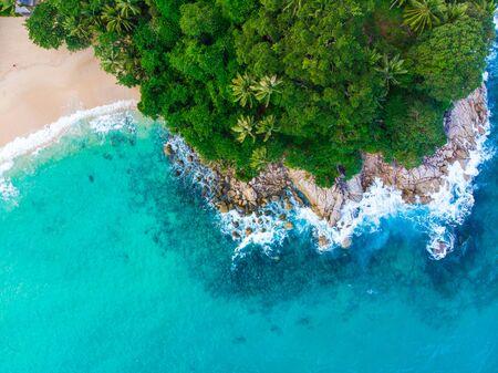 Aerial view sea wave white sand beach Phuket Thailand