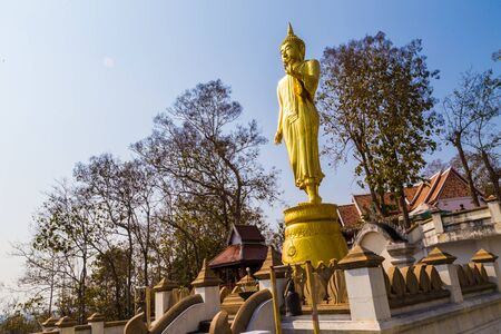 Big golden buddha statue stand on mountain look to city blue sky background Stock Photo