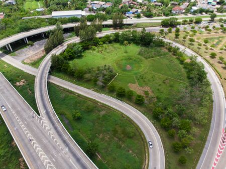 City transport cross junction asphalt road with car and truck movement aerial view Stock Photo