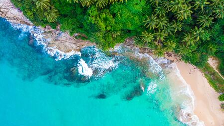 Tropical forest on sea island beach aerial view Stock Photo