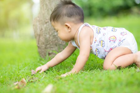 Cute smiling little asian boy crawling on green grass in city public park