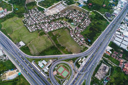 Aerial view transport junction road with satadium green park