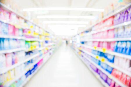 Blurred food and drink on shelf in supermarket business background Reklamní fotografie