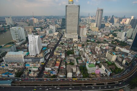Bangkok skyline city building with transport road, Thailand