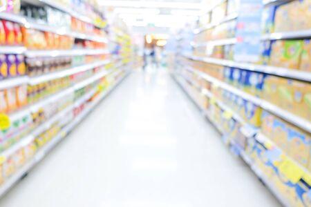 Abstract blurred bokeh shelf supermarket modern trade, Business background