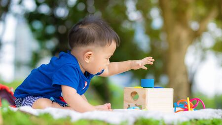 Baby boy crawling on picnic mat green grass playing outdoor