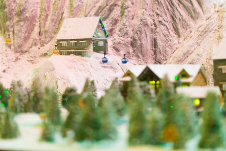 snowy winter scene of a small hamlet model, Merry Christmas Stock Photo