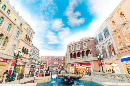 MACAU,CHINA - Cotai Strip, Macau, China - 21 OCTOBER, 2015 : The Venetian Hotel, Macao is famous shopping mall, luxury hotel and the largest casino in the world