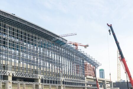 Construction site building blue sky with crane, Transport building