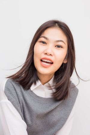 Happines smiling asian cute women casual suit on white background