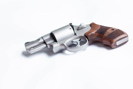 magnum conceal revolver gun on white bckground, Crime concept Stok Fotoğraf