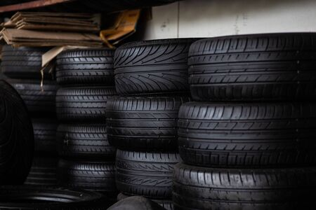 Many type of car tire in garage shop transport industry