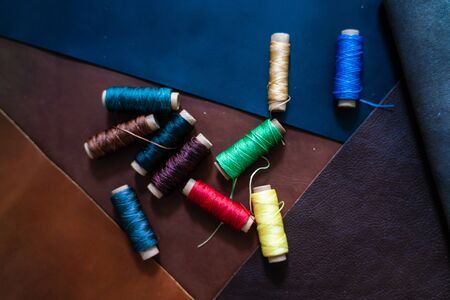 colorful linin thread on geuine leather craftmanship working, Handmade creative