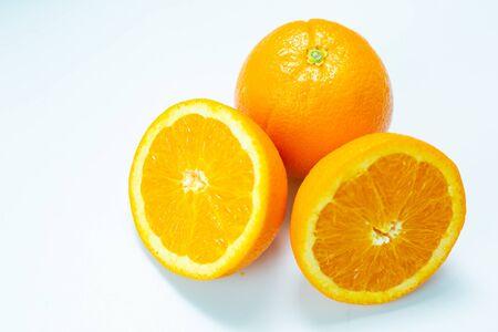 Fresh slice orange tropical fruit on white background, Vitamin fruit