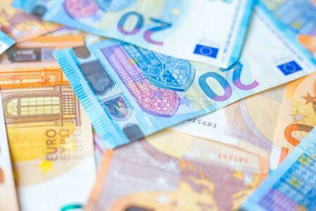 Background of 20 and 50 value Euro money bill close up finance concept Stock fotó - 140240426