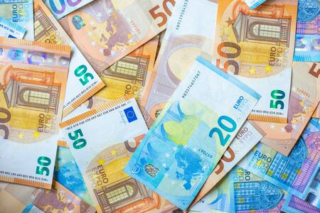 Background of 20 and 50 value Euro money bill close up finance concept Stock fotó - 140240427