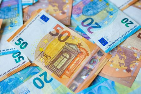 Background of 20 and 50 value Euro money bill close up finance concept Stock fotó - 140244954