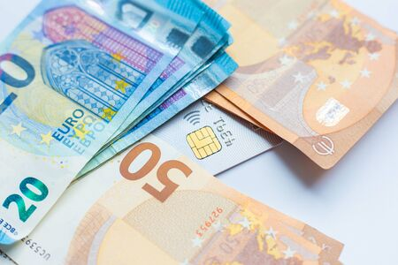 Euro money with credit card on white background business finance Stock fotó - 140262263