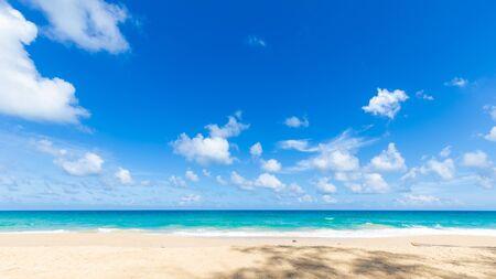 Soft blue wave tropical sea beach sunny sky with cloud