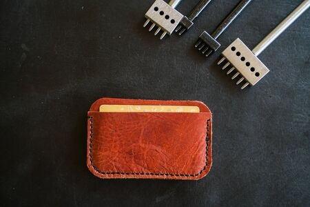 Genuine leather money card purse craftmanship working with handmade tool