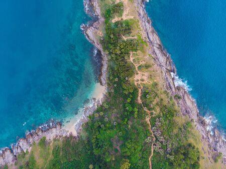 Aerial view sea rocky beach Laem Phromthep cape turquoise water, Phuket Thailand Reklamní fotografie