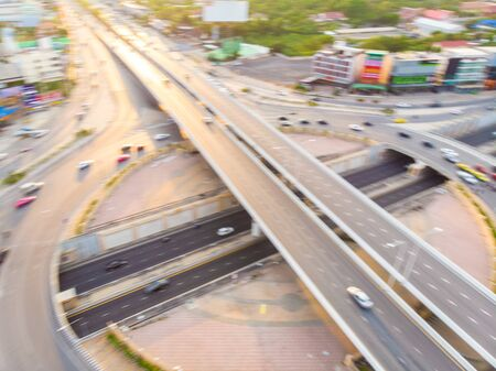 City transport junction roundabout road sunset aerial view Stockfoto