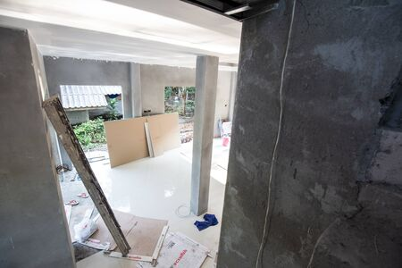 Interior modern house building renovate industry, New home concept